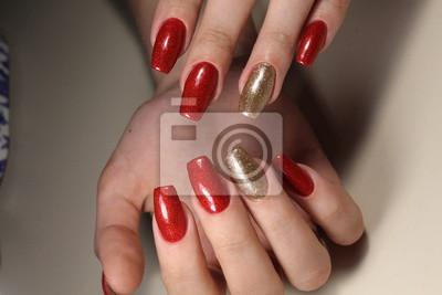 Manikure Nagel Rot Und Gold Fototapete Fototapeten Schone