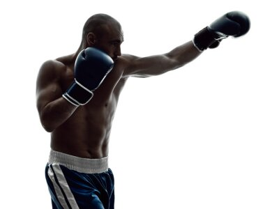 Fototapete Mann Boxer Boxen isoliert Silhouette