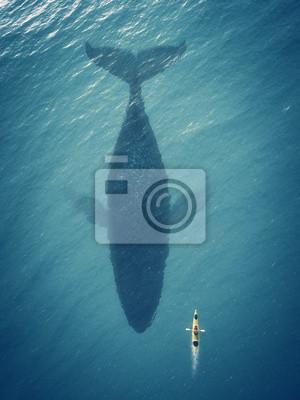 Fototapete Mann in einem Boot schwimmt neben einem großen Fisch, Wal.