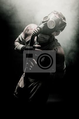 Fototapete Mann in Gasmaske