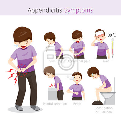 Mann mit appendizitis symptome, anhang, interne organe, körper ...