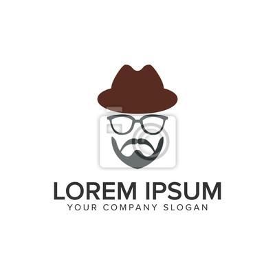 Mann mit bart und hut logo design konzept vorlage. voll editierbarer ...