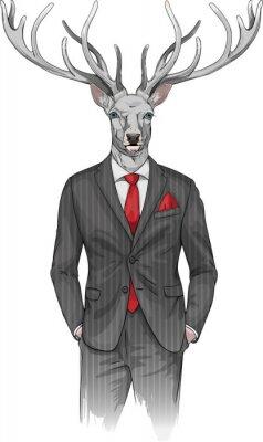 Fototapete Mann mit Hirsch Kopf in einem Anzug gekleidet