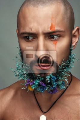 Mann Mit Kreativen Make Up Und Blumen In Seinen Bart Fototapete