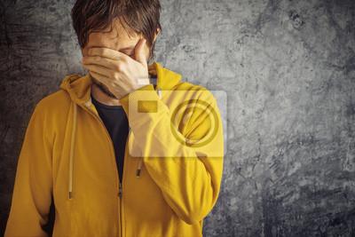 Fototapete Mann mit Migräne-Kopfschmerzen