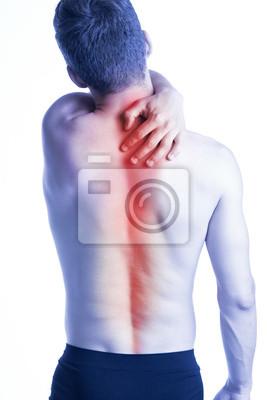 Mann mit Wirbelsäule Schmerzen auf dem Rücken