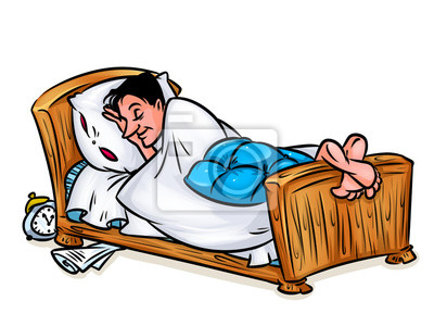Mann Schlafend Im Bett Abbildung Karikaturbild Fototapete