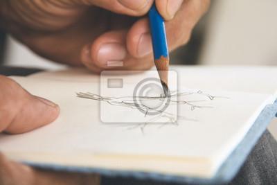 Fototapete Mann schriftlich einen Baum auf Skizzenbuch, Umwelt Conservative Konzept
