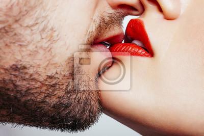 Fototapete Mann und Frau Lippen will küssen