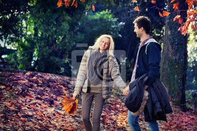 Mann und Frau zu Fuß Hand in Hand im Herbst Park
