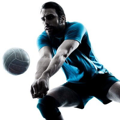 Fototapete Mann volleyball silhouette
