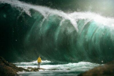 Fototapete Mann vor einem Tsunami