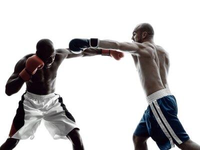 Fototapete Männer Boxer Boxen isoliert Silhouette
