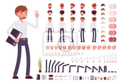 Fototapete Männlich Angestellter Charakter Kreationssatz. Bauen Sie Ihr eigenes Design. Cartoon-Vektor flachen Stil Infografik Illustration
