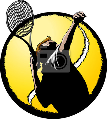 Männlich Tennis Spieler, der mit Ball Background