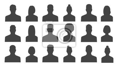 Fototapete Männliche und weibliche Kopf Silhouetten Avatar, Profil Symbole. Vektor-Illustration