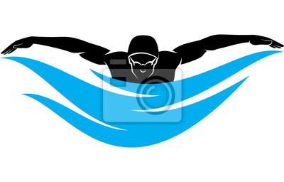 Männlicher Schwimmer-Schwimmen-Schmetterlings-Anschlag