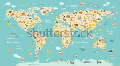 Fototapete Map animal for kid. Continent of world, animated child's map. Vector illustration animals poster, drawn Earth. Continents and sea life. South America, Eurasia, North America, Africa and Australia