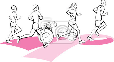 Marathon runners running on a Breast Cancer Awareness pink ribbon. Runners include a wheelchair runner, female and male runners.
