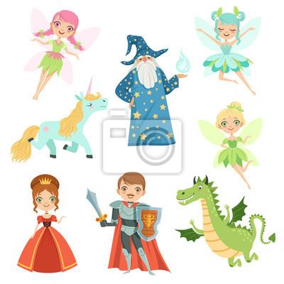 Märchenfiguren in verschiedenen kostümen. prinzessin, lustiges ...