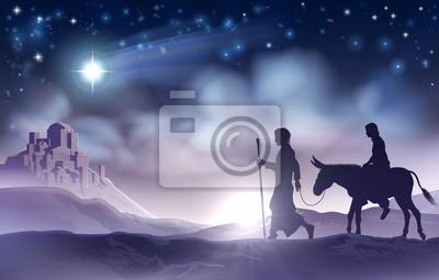 Bilder Krippe Weihnachten.Fototapete Maria Und Joseph Krippe Weihnachten Illustration