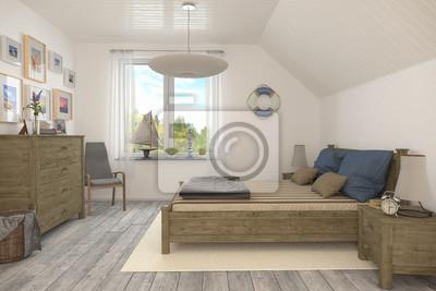 Maritimes schlafzimmer, ferienwohnung im dachgeschoss fototapete ...