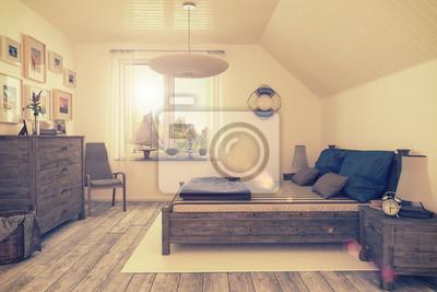Maritimes schlafzimmer, ferienwohnung im dachgeschoss ...