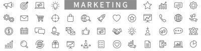 Fototapete Marketing line icons set. Advertising icon collection. Marketing symbol set. Vector illustration