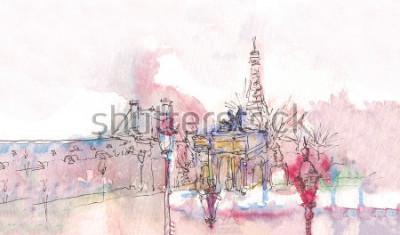Fototapete Markstein von Paris mit Aquarell an einem regnerischen Tag - alte Museumsansicht mit Eiffelturm hinten. Aquarell schick. Pariser Panorama. Pariser Aquarell Panorama. Schicke Landschaft