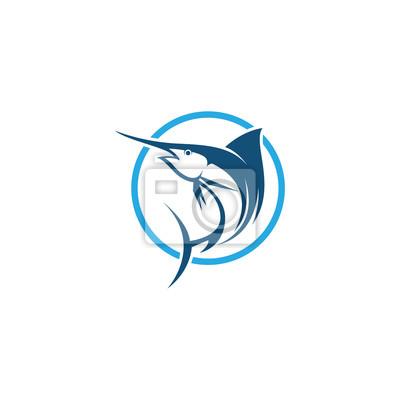 Marlin Fisch Vektor Logo Vorlage Fototapete Fototapeten Sailfish