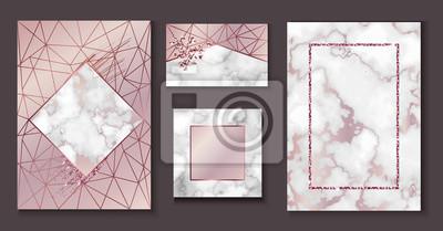 Marmor Broschüre Layout Hochzeit Einladungs Set