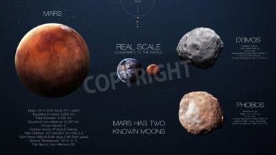 Fototapete Mars - Hochauflösende Infografiken über den Sonnensystemplaneten und seine Monde. Alle Planeten verfügbar.