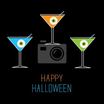 Martini gesetzt. Happy Halloween-Karte.