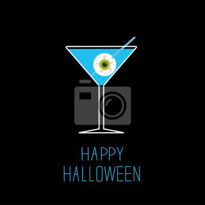 Martini-Glas mit blau Cocktail und Augapfel. Halloween-Karte.