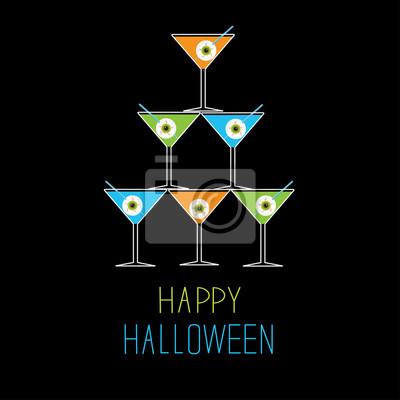 Martini-Gläser-Pyramide. Happy Halloween-Karte.