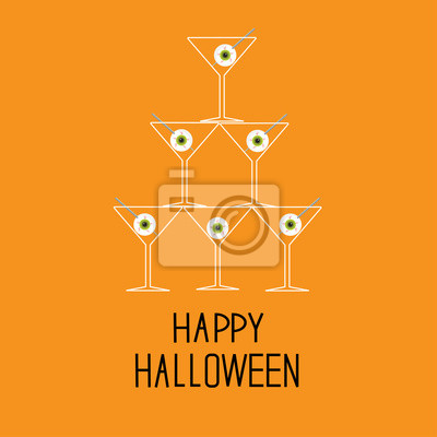 Martini-Gläser Pyramide mit Augäpfeln. Happy Halloween-Karte.