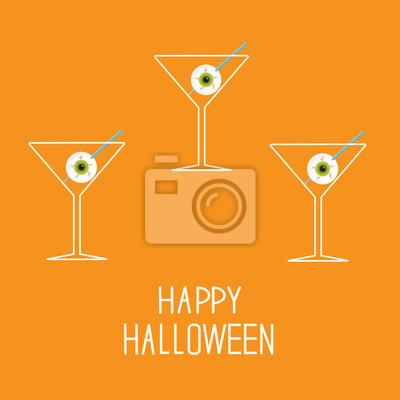 Martini-Set mit Augäpfel. Happy Halloween-Karte.