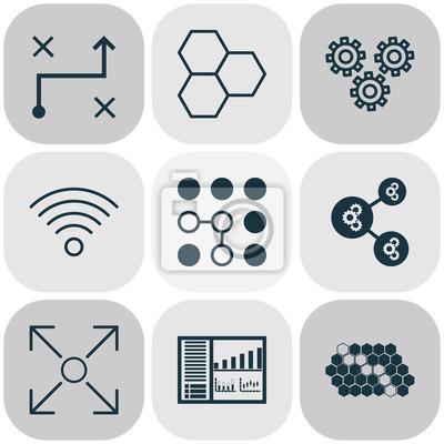 Maschinen-ikonen eingestellt mit informations-komponenten ...