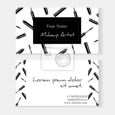fototapete maskenbildner visitenkarten vorlage vector schablone mit nahtlosem muster der make upartikel wimperntusche - Muster Visitenkarten