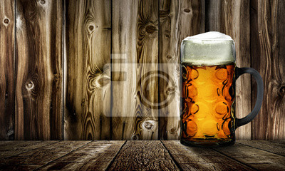 Fototapete Maß Bier Vor Holzhintergrund