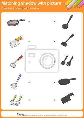 Match küchengeräte mit schatten - arbeitsblatt für bildung ...