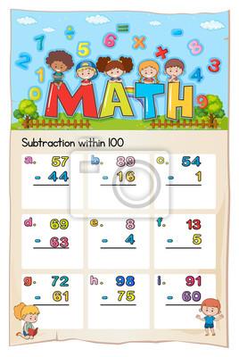 Mathe-arbeitsblatt für subtraktion innerhalb von hundert fototapete ...