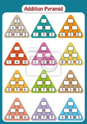 Mathe-pyramiden für mental math practice, vervollständigen sie ...
