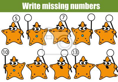 Mathematik bildungsspiel für kinder. schreibe die fehlenden nummern ...