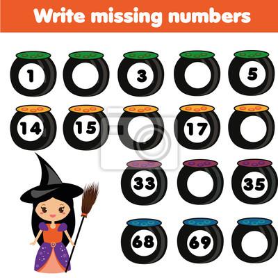 Mathematik-bildungsspiel für kinder. schreibe die fehlenden nummern ...