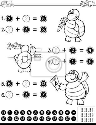 Mathematisches arbeitsblatt färbung buch fototapete • fototapeten ...