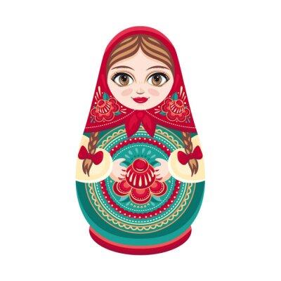 Fototapete Matrjoschka. Russische Volksholzpuppe. Babuschka-Puppe. Vektor-Illustration auf weißem Hintergrund