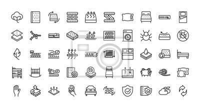 Fototapete mattress comfortable soft textile icons set linear design