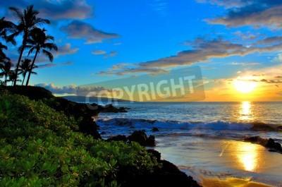 Fototapete Maui Beach Sonnenuntergang mit Palmen und Laub