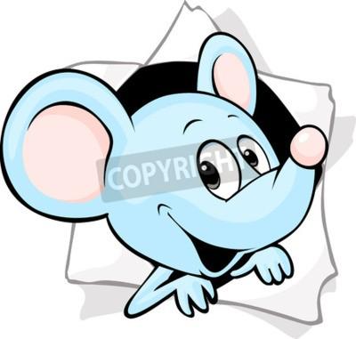 Fototapete Maus, die aus einem Loch in einem Papier blickt